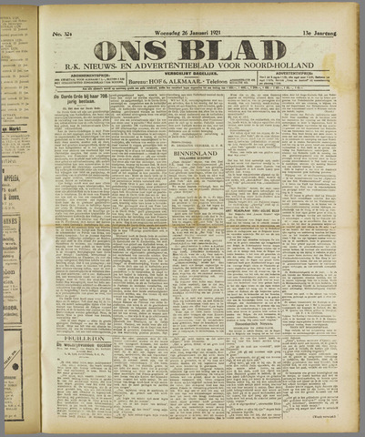Ons Blad : katholiek nieuwsblad voor N-H 1921-01-26