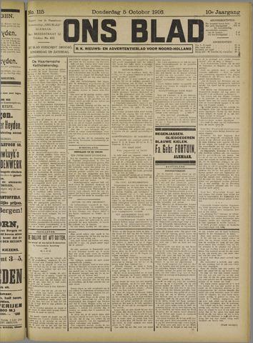 Ons Blad : katholiek nieuwsblad voor N-H 1916-10-05