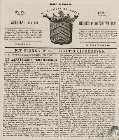 Weekblad van Den Helder en het Nieuwediep 1848-11-24