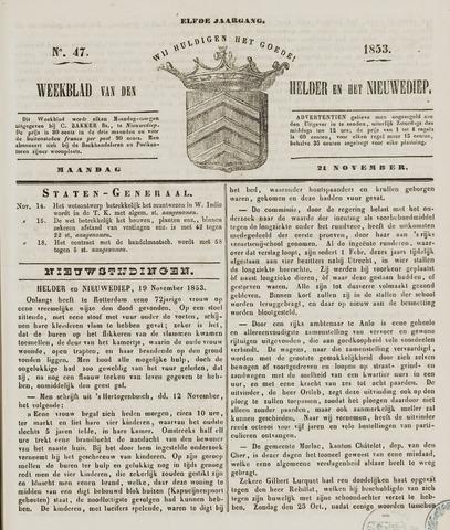 Weekblad van Den Helder en het Nieuwediep 1853-11-21