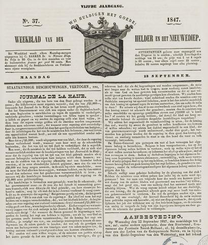 Weekblad van Den Helder en het Nieuwediep 1847-09-13
