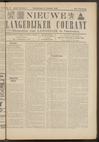 Nieuwe Langedijker Courant 1926-01-14
