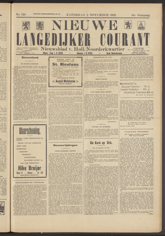 Nieuwe Langedijker Courant 1932-11-05