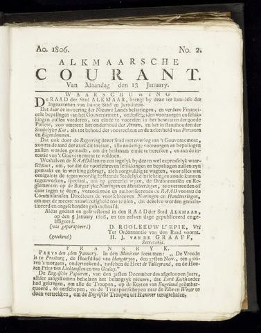 Alkmaarsche Courant 1806-01-13