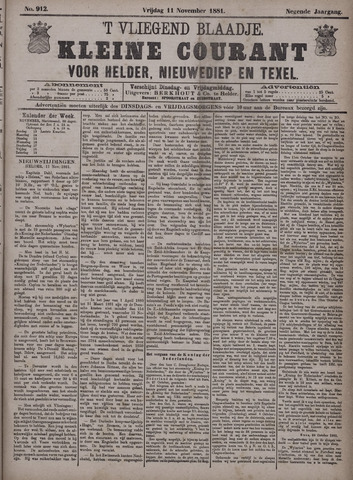Vliegend blaadje : nieuws- en advertentiebode voor Den Helder 1881-11-11