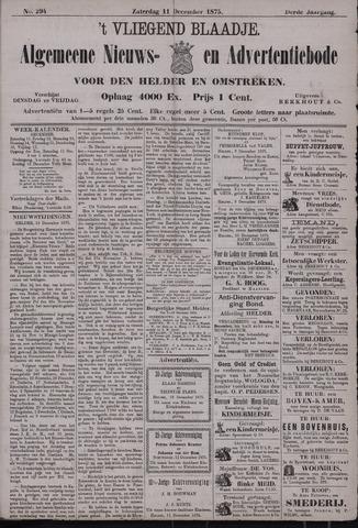 Vliegend blaadje : nieuws- en advertentiebode voor Den Helder 1875-12-11