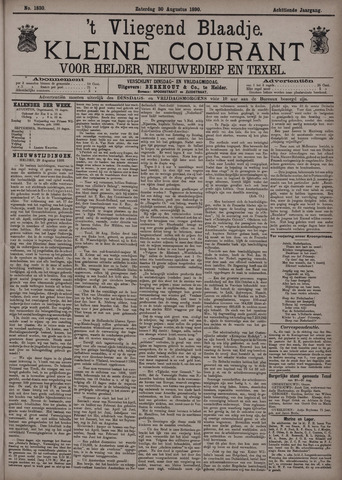 Vliegend blaadje : nieuws- en advertentiebode voor Den Helder 1890-08-30