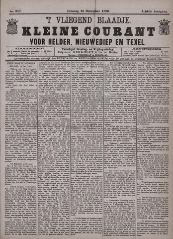 Vliegend blaadje : nieuws- en advertentiebode voor Den Helder 1880-12-14