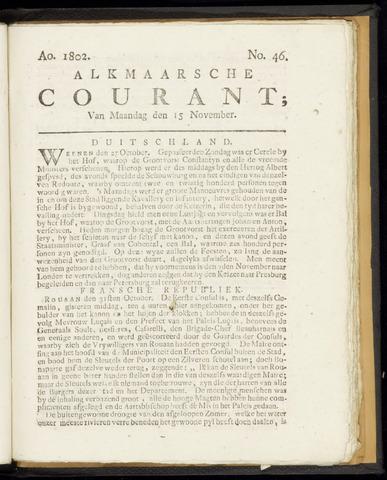 Alkmaarsche Courant 1802-11-15