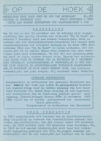 Op De Hoek, weekblad voor Akersloot 1963-11-15