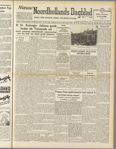 Nieuw Noordhollandsch Dagblad : voor Alkmaar en omgeving 1949-09-20