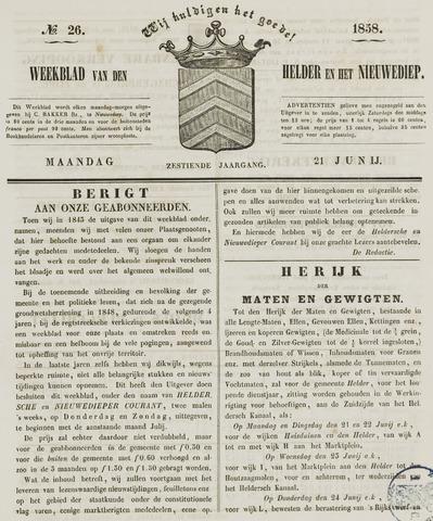 Weekblad van Den Helder en het Nieuwediep 1858-06-21