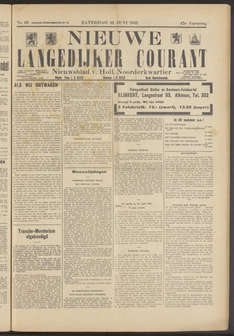 Nieuwe Langedijker Courant 1933-06-10