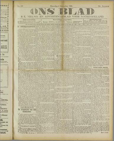 Ons Blad : katholiek nieuwsblad voor N-H 1920-12-06