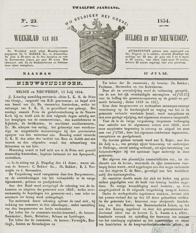 Weekblad van Den Helder en het Nieuwediep 1854-07-17