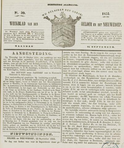 Weekblad van Den Helder en het Nieuwediep 1855-09-24