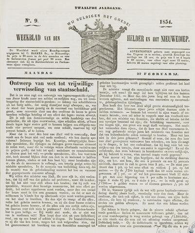 Weekblad van Den Helder en het Nieuwediep 1854-02-27