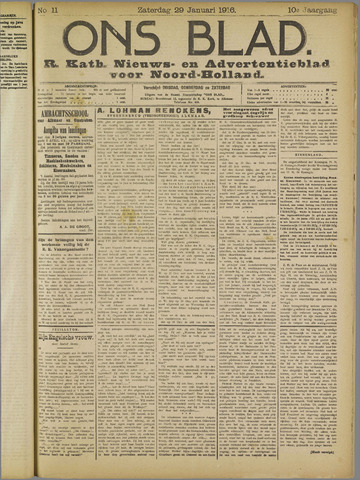 Ons Blad : katholiek nieuwsblad voor N-H 1916-01-29