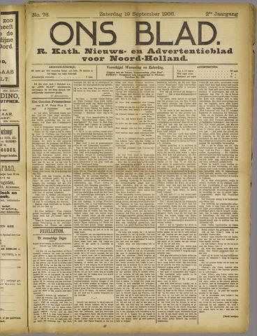 Ons Blad : katholiek nieuwsblad voor N-H 1908-09-19