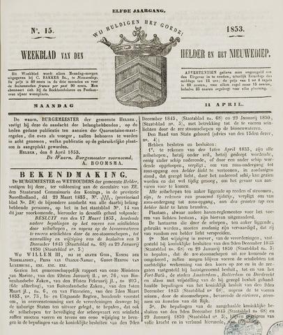 Weekblad van Den Helder en het Nieuwediep 1853-04-11
