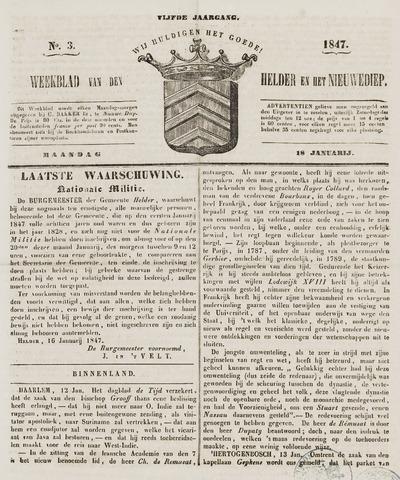 Weekblad van Den Helder en het Nieuwediep 1847-01-18