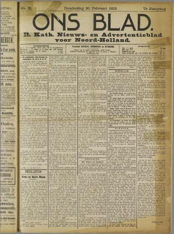 Ons Blad : katholiek nieuwsblad voor N-H 1913-02-20