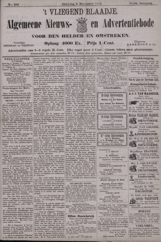 Vliegend blaadje : nieuws- en advertentiebode voor Den Helder 1875-11-06