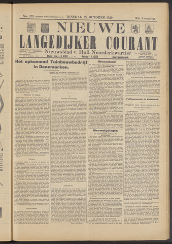 Nieuwe Langedijker Courant 1929-10-29