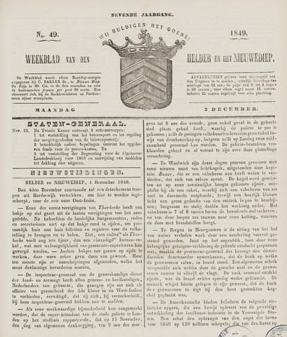 Weekblad van Den Helder en het Nieuwediep 1849-12-03