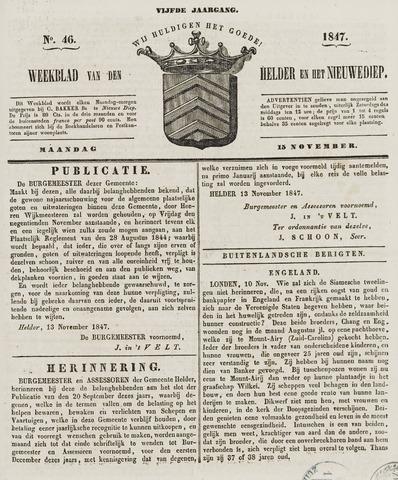 Weekblad van Den Helder en het Nieuwediep 1847-11-15
