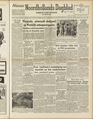 Nieuw Noordhollandsch Dagblad : voor Alkmaar en omgeving 1951-11-09