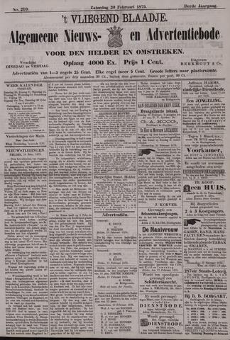 Vliegend blaadje : nieuws- en advertentiebode voor Den Helder 1875-02-20