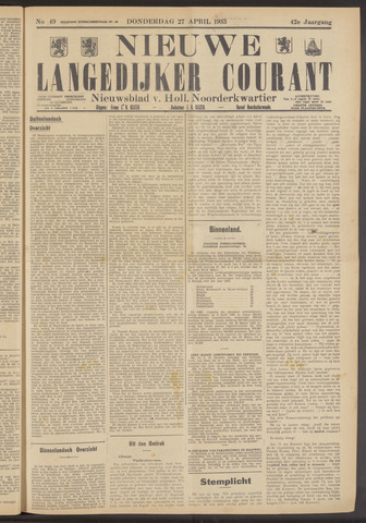Nieuwe Langedijker Courant 1933-04-27