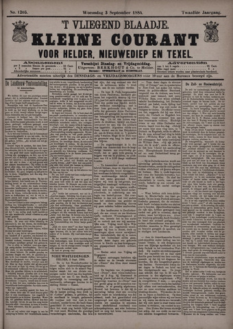 Vliegend blaadje : nieuws- en advertentiebode voor Den Helder 1884-09-03