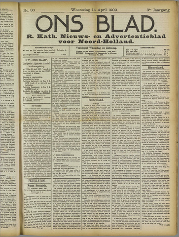 Ons Blad : katholiek nieuwsblad voor N-H 1909-04-14