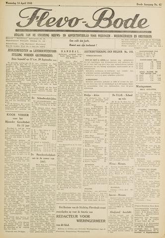 Flevo-bode: nieuwsblad voor Wieringen-Wieringermeer 1948-04-14