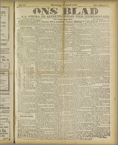 Ons Blad : katholiek nieuwsblad voor N-H 1919-04-14