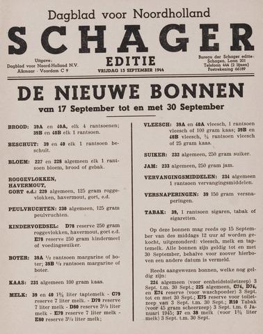 Dagblad Noord-Holland, Schager editie 1944-09-15