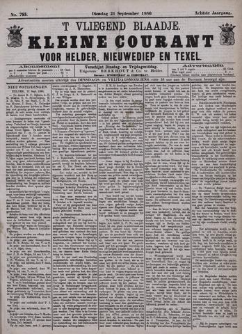 Vliegend blaadje : nieuws- en advertentiebode voor Den Helder 1880-09-21