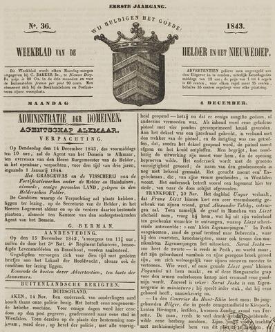 Weekblad van Den Helder en het Nieuwediep 1843-12-04