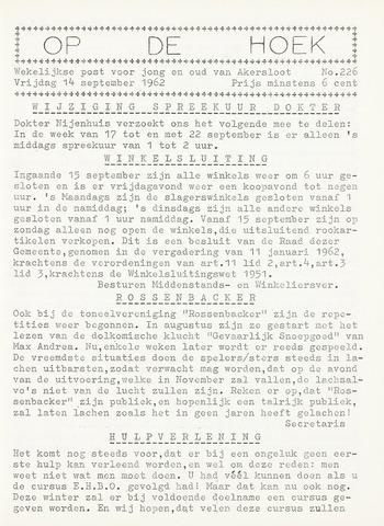 Op De Hoek, weekblad voor Akersloot 1962-09-14