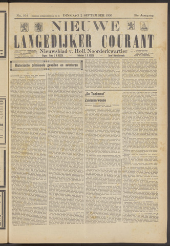 Nieuwe Langedijker Courant 1930-09-02