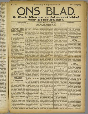 Ons Blad : katholiek nieuwsblad voor N-H 1908-09-16