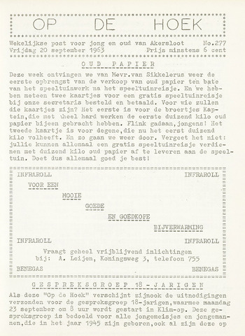 Op De Hoek, weekblad voor Akersloot 1963-09-20