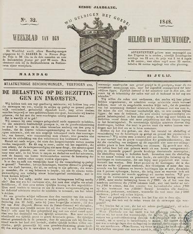 Weekblad van Den Helder en het Nieuwediep 1848-07-31