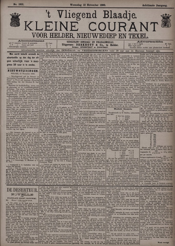 Vliegend blaadje : nieuws- en advertentiebode voor Den Helder 1890-11-12
