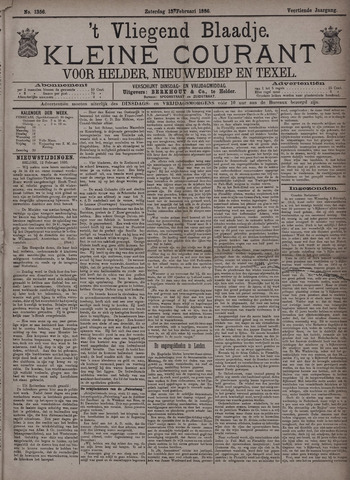 Vliegend blaadje : nieuws- en advertentiebode voor Den Helder 1886-02-13