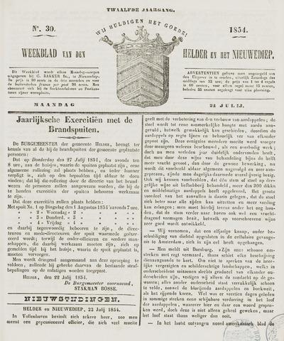 Weekblad van Den Helder en het Nieuwediep 1854-07-24