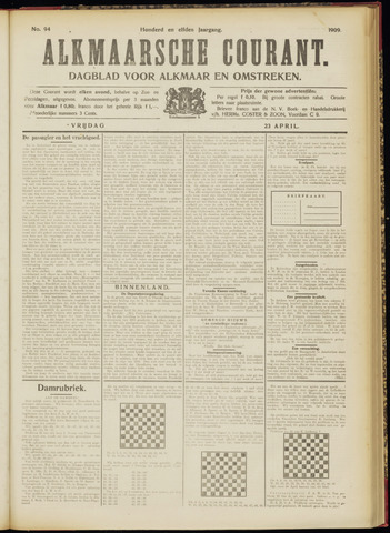 Alkmaarsche Courant 1909-04-23