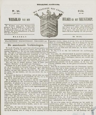 Weekblad van Den Helder en het Nieuwediep 1854-05-22